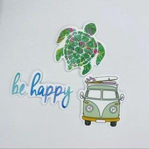 Summer Sticker Set Boho Turtle Be Happy Volkswagon